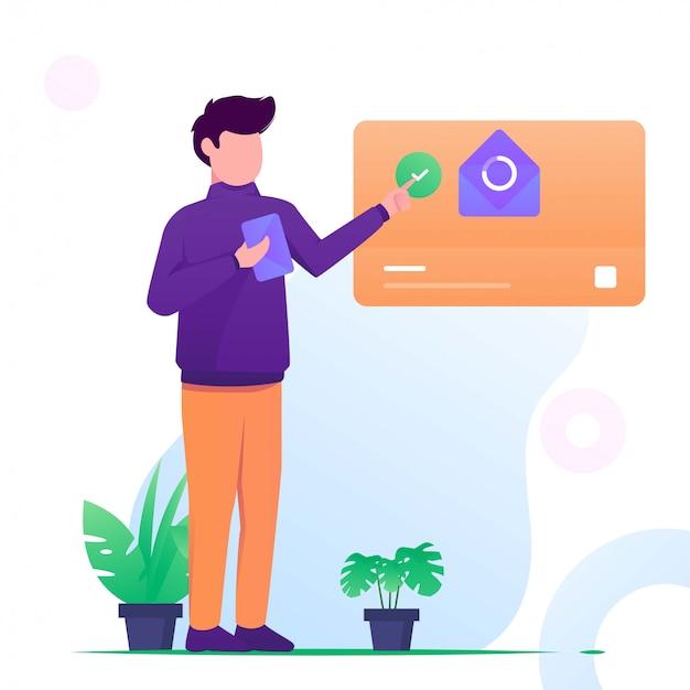 Homem enviar e-mail na ilustração plana web