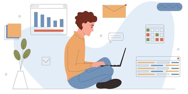 Homem envolvido com desenvolvimento de software ou web; jovem programador freelancer está trabalhando em um laptop