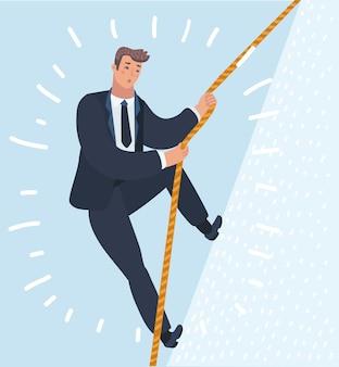 Homem escalando duro para o sucesso