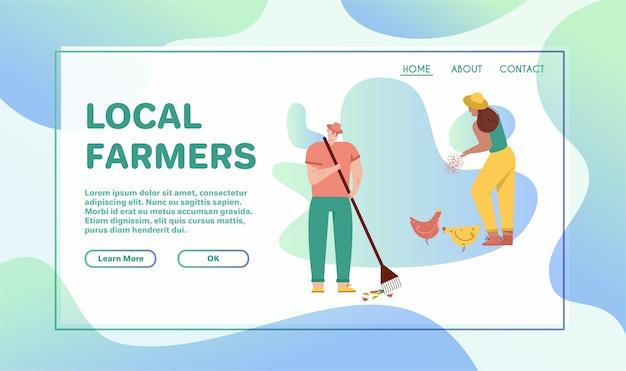 Homem escavando a pá de terra, está envolvida na agricultura. mulher alimenta galinhas, está envolvida na criação de aves. dois fazendeiros trabalham juntos na fazenda