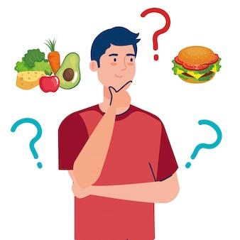 Homem escolhendo entre alimentos saudáveis e insalubres, fast food vs menu equilibrado