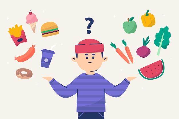 Homem escolhendo entre alimentos saudáveis ou não saudáveis
