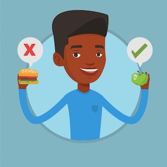 Homem escolhendo entre hambúrguer e cupcake.