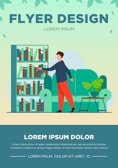 Homem escolhendo o livro na biblioteca doméstica. lazer, prateleira, ilustração em vetor plana sofá. conceito de passatempo e entretenimento para banner, design de site ou página de destino