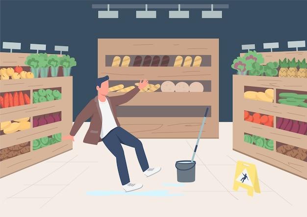 Homem escorregou perto da ilustração a cores do sinal do chão molhado. personagem de desenho animado 2d do cliente caindo da loja com prateleiras de produtos no fundo. limpeza de mercearia, serviço de zeladoria