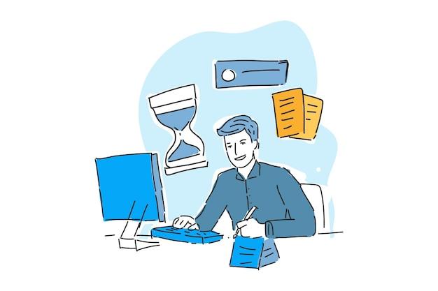 Homem escrevendo ilustração desenhada para problema de negócios