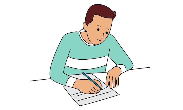 Homem escrevendo notas em um pedaço de papel com uma caneta