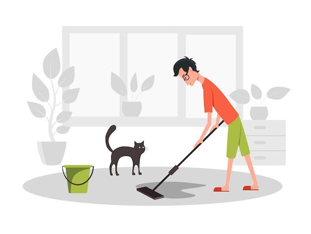 Homem esfrega o chão. vista lateral. ilustração plana dos desenhos animados de vetor de cor. conceito ficar em casa.