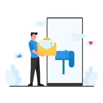 Homem espera mensagens e caixa de correio na metáfora de tela do telefone de marketing móvel.