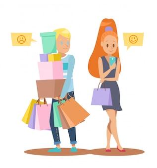 Homem, esperando, menina, shopping, personagem, desenho