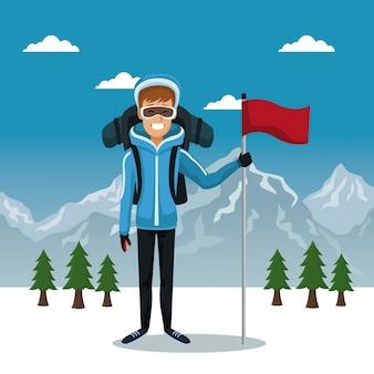 Homem esquiador com equipamento e bandeira