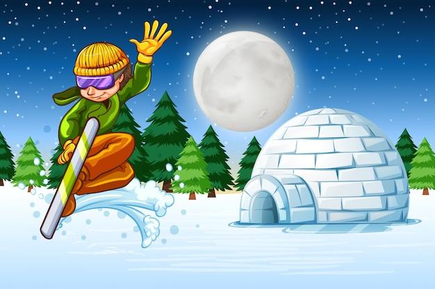 Homem, esquiando, em, neve, cena
