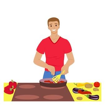Homem está cozinhando homem na cozinha preparar legumes ilustração vetorial de estoque de comida caseira