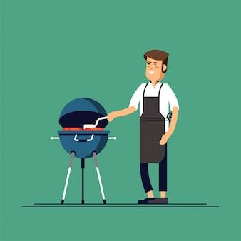 Homem está cozinhando uma churrasqueira. frite a carne e as salsichas em chamas.