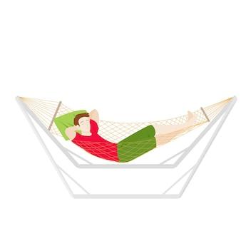 Homem está descansando em uma rede, férias de verão, férias e ilustração vetorial de estoque de finais de semana
