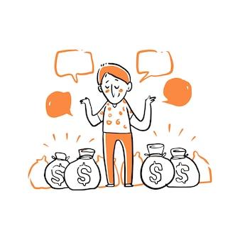 Homem está entre ilustração de sacos de dinheiro