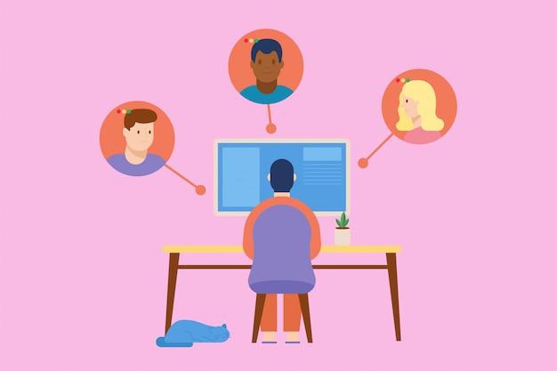 Homem está trabalhando em casa enquanto tem vídeo-conferência com colega de trabalho. trabalhar do conceito de casa. ilustração em estilo simples