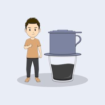 Homem estalando a mão com design vietnam drip coffe