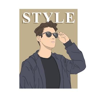 Homem estilo ilustração