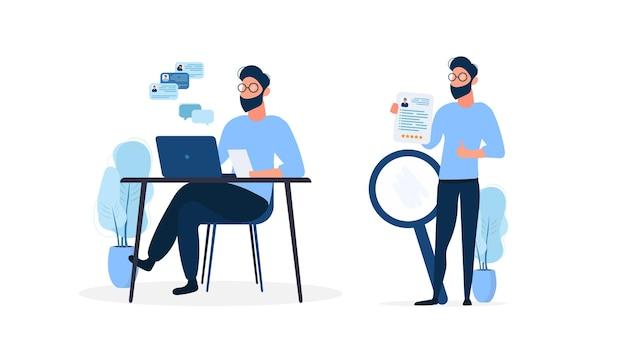 Homem estiloso de óculos trabalhando em uma ilustração de laptop