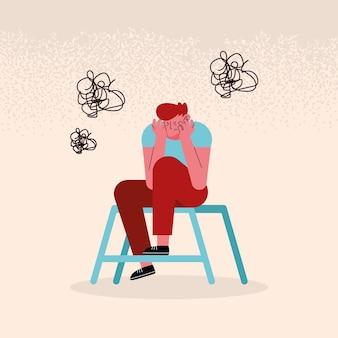 Homem estressado na cadeira