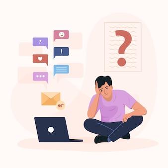 Homem estressado obtém muitas informações na rede