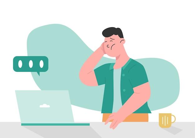 Homem estressado porque trabalho