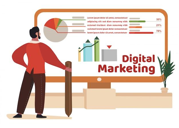 Homem estuda dados de marketing digital em gráficos, tabelas