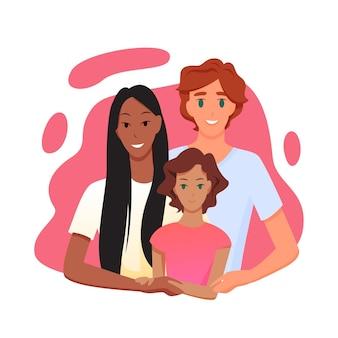 Homem europeu e mulher asiática abraçando filha criança, relacionamento amor de casal feliz multirracial