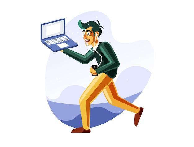 Homem, executando, enquanto, carregar, laptop