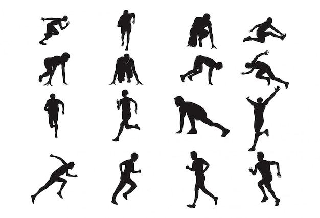 Homem, execute, silueta, projete elemento, atletismo, desporto, pose
