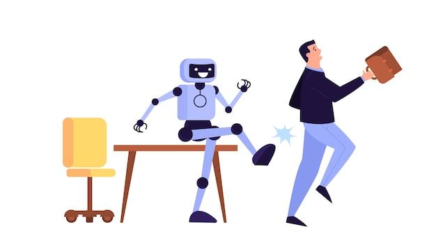 Homem expulso do trabalho. idéia de desemprego. pessoa desempregada, crise financeira. robô contra humano. ilustração