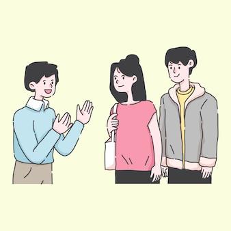 Homem falando com jovem casal