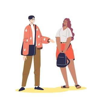 Homem falando com mulher de raça mista. jovens estudantes ou amigos de diferentes nacionalidades se comunicando com um sorriso feliz. conceito de diversidade. ilustração em vetor plana dos desenhos animados