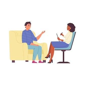 Homem falando com psicólogo ilustração vetorial plana isolada no fundo