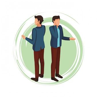 Homem, falando, com, smartphone, avatar