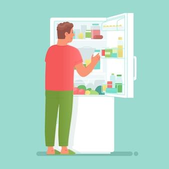 Homem faminto abre uma geladeira cheia de comidas e bebidas para fazer um lanche ou levar comida para cozinhar. ilustração vetorial em estilo simples