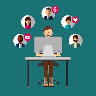 Homem farpado sentado na mesa com laptop pessoas redes sociais