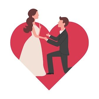 Homem faz proposta de casamento para a namorada ilustração vetorial plana