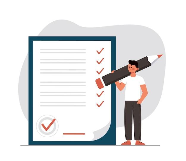 Homem faz um acordo verificando e assinando o contrato de empréstimo homem com caneta coloca uma assinatura
