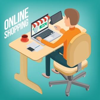 Homem faz uma compra na internet usando um laptop enquanto está sentado à mesa. 3d. compras