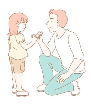 Homem faz uma promessa mindinho a uma ilustração de uma menina