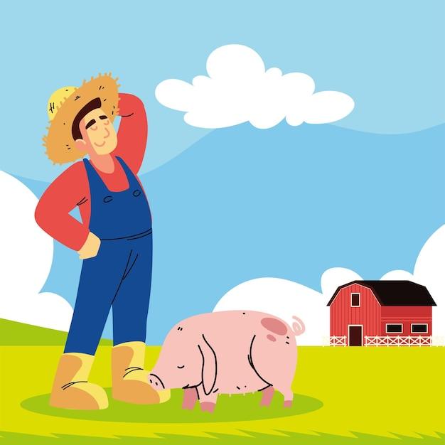 Homem fazendeiro e porco