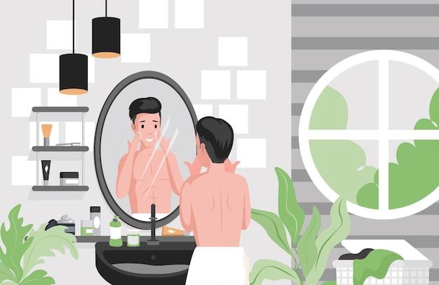 Homem fazendo a barba, limpando rosto em ilustração plana de banheiro