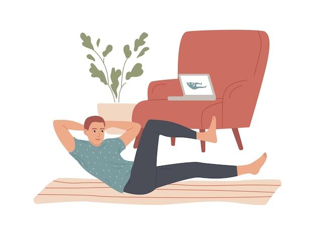 Homem fazendo abdominais abdominais flexões em casa.