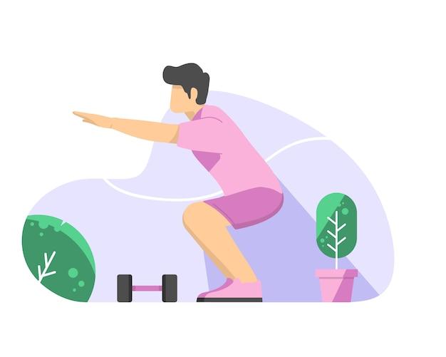 Homem fazendo agachamentos vector plana ilustração