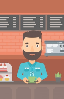 Homem fazendo café.