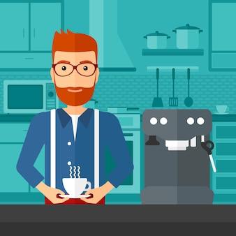 Homem fazendo café