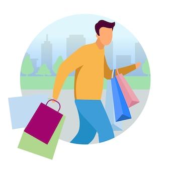 Homem fazendo compras ícone conceito plana. cara, apresse-se com etiqueta de sacos de compras, clipart. viciada em compras, cliente, personagem de desenho animado do comprador. ilustração isolada no fundo branco