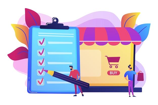 Homem fazendo compras na lista de compras. cliente com pacote, compra de mercadorias. acordo de compra, compra in-app, conceito de processo de compra.